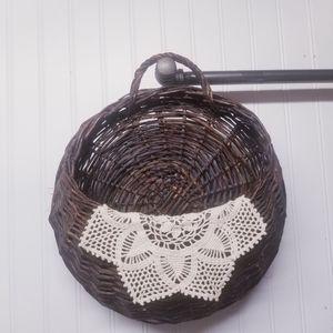 Boho Vintage Woven Hanging Basket